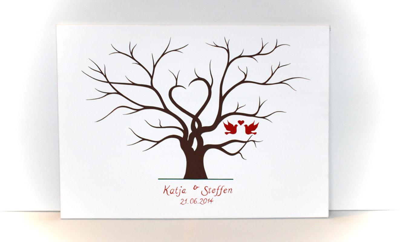 hochzeitsbaum mit fingerabdr cke und personalisierung pictures to pin on pinterest. Black Bedroom Furniture Sets. Home Design Ideas